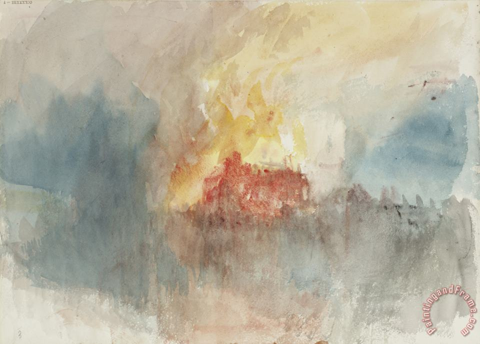 Joseph Mallord William Turner From Fire at The Tower of London Sketchbook [finberg Cclxxxiii], Fire at The Grand Storehouse of The Tower of London Art Print